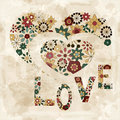 Spring  flowers in heart shape love Royalty Free Stock Photos
