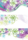 Spring flowers and line border.Design element Royalty Free Stock Images