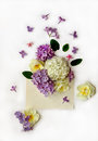 Spring flowers in old post envelope on white background flat lay top view nature concept Royalty Free Stock Image