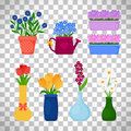 Spring flowers in pots set
