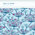 Spring flowers seamless horizontal torn pattern vectpr background with hand draw elements Royalty Free Stock Photos