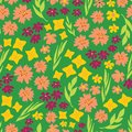 Spring flowers seamless vector repeat pattern. Hand drawn florals background green, yellow, pink. Scandinavian doodle flat ditsy