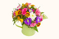Spring flowers in watering pot Royalty Free Stock Photo