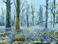 Spring forest with lots of blue flowers. Oil painting on canvas.