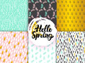 Spring Funky Seamless Patterns