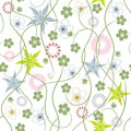 Spring Garden. Abstract flowers - seamless pattern Royalty Free Stock Photo