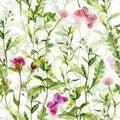 Spring garden: grass, flowers, butterflies. Vintage watercolor. Seamless pattern