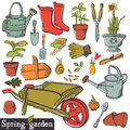 Spring garden set vintage tools Royalty Free Stock Image