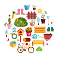 Spring Garden White flat icons. Design Vector Illustration. Set of Nature Gardening Tools Items. Royalty Free Stock Photo