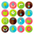 Spring Gardening Circle Icons Set with long Shadow
