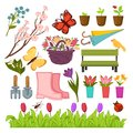Spring gardening flowers and planting tools vector icons set