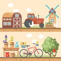 Spring gardening vector flat illustration in pastel colors with cute barn, tractor and bicycle Royalty Free Stock Photo
