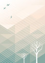 Spring geometric background abstract triangle with contour trees and birds Stock Photography
