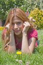 Spring girl with daisy Stock Image