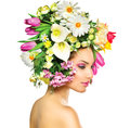 Spring girl with flowers beauty hair style Stock Photo