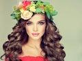 Spring girl. Wreath on the head.