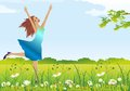 Spring goes composition of a girl walking on the grass with flowers Stock Images