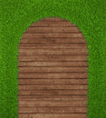 Spring green grass over wood background realistic d render Royalty Free Stock Photos