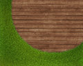 Spring green grass over wood background realistic d render Stock Images