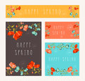 Spring greeting card set invitation thank you save the date cards with colorful flowers composition eps vector file organized in Royalty Free Stock Photo