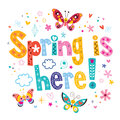 Spring is here decorative type lettering design Royalty Free Stock Photography