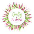 Spring is here vector card banner tag label with leaves Royalty Free Stock Image