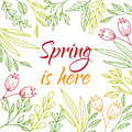 Spring is here vector card with hand drawn flowers branches and plants Royalty Free Stock Images