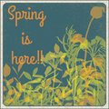 Spring is here vintage sign Stock Photo