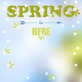 Spring is here words flowers and leaves background Stock Image