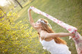 Spring hippie bride outdoors young green leafs Stock Photo