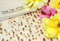 Spring holiday of passover and its attributes with matzo and haggadah in hebrew happy Stock Images