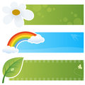 Spring horizontal banners a collection of three springtime with a chamomile flower a rainbow with cloud and a sprout with water Royalty Free Stock Photography
