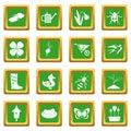 Spring icons set green
