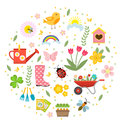 Spring icons set in round shape, flat style. Gardening cute collection of design elements, isolated on white background