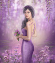 Spring Illustration beautiful Fantasy woman with purple flowers in sakura background Royalty Free Stock Photo