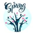 Spring illustration with bright flowering shrub. Spring bush. Ha