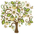 Spring isolated tree on a white with gold and green leaves flowers and butterflies vector Royalty Free Stock Images