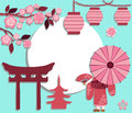 Spring japan symbols background with japanese characters on the theme of hanami with frame for text Stock Photography