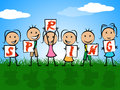 Spring kids represents seasons toddlers and childhood meaning children Royalty Free Stock Photography