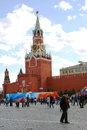 Spring and labour day celebration in russia people walking on the red square decorated for may holidays spasskaya clock tower Stock Photo