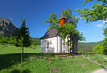 Spring landcape with chapel in eastern europe   Royalty Free Stock Photography