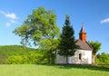 Jarná krajina s kaplnkou na Slovensku