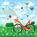 Spring landscape with bike and hot air balloons Royalty Free Stock Photo