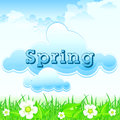 Spring landscape with grass and flowers against sky illustration Royalty Free Stock Photo