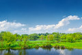 Landscape Narew river blue sky clouds green trees Royalty Free Stock Photo