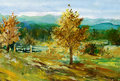 Spring landscape oil colours my own arfwork Royalty Free Stock Image