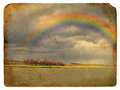 Spring Landscape with Rainbow. Old postcard. Royalty Free Stock Photos