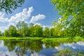 Fiume nuvole cielo verde alberi