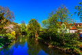 Spring landscape with river in gelnhausen germany the kaiserpfalz Stock Image