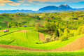 Spring landscape and rural village,Holbav,Transylvania,Romania,Europe Royalty Free Stock Photo